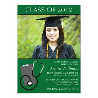 Obtention du diplôme médicale de photo de vert carton d'invitation  12,7 cm x 17,78 cm