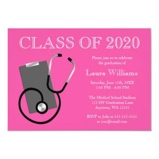 Obtention du diplôme médicale de rose d'école carton d'invitation  12,7 cm x 17,78 cm