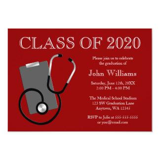 Obtention du diplôme médicale de rouge d'école carton d'invitation  12,7 cm x 17,78 cm