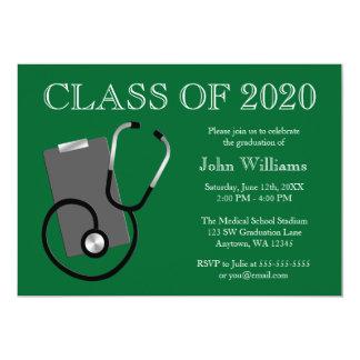 Obtention du diplôme médicale de vert d'école carton d'invitation  12,7 cm x 17,78 cm