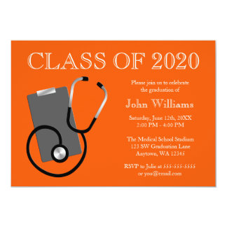 Obtention du diplôme médicale d'orange d'école carton d'invitation  12,7 cm x 17,78 cm