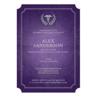 Obtention du diplôme médicale pourpre et argentée carton d'invitation  12,7 cm x 17,78 cm