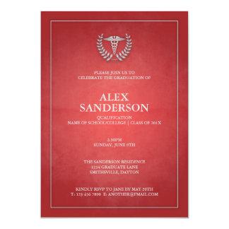 Obtention du diplôme médicale rouge et argentée carton d'invitation  12,7 cm x 17,78 cm