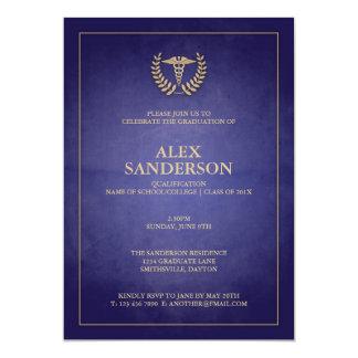 Obtention du diplôme médicale simple de caducée de carton d'invitation  12,7 cm x 17,78 cm