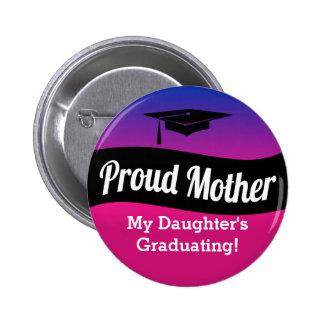 Obtention du diplôme - mère fière macaron rond 5 cm