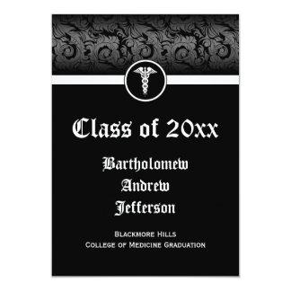 obtention du diplôme noire/blanche de 5x7 de carton d'invitation  12,7 cm x 17,78 cm
