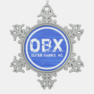 OBX NC Outer Banks North Carolina Beach Holiday Snowflake Pewter Christmas Ornament