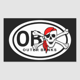 OBX Skull and Crossbones Pirate Stickers