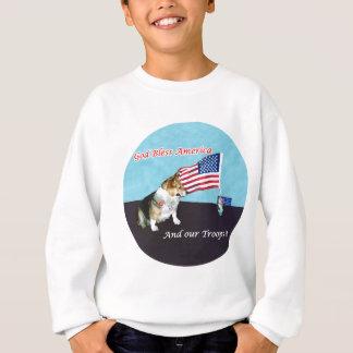 OC looks at flag Sweatshirt
