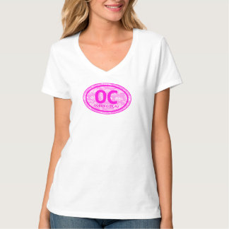 OC Ocean City NJ Pink Floral Beach Tag T-Shirt
