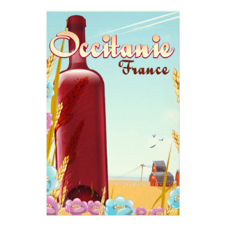 Occitanie France farming landscape poster Stationery