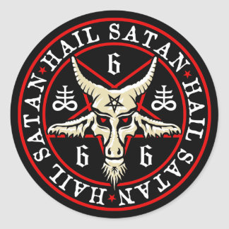 Occult Hail Satan Baphomet Goat in Pentagram Round Sticker