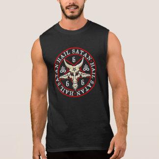 Occult Hail Satan Baphomet in Pentagram Sleeveless T-shirt