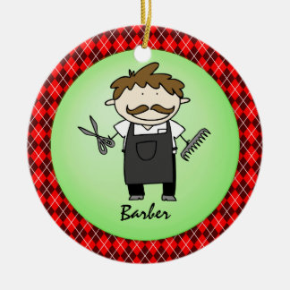 Occupation Barber  Christmas Personalized Ceramic Ornament