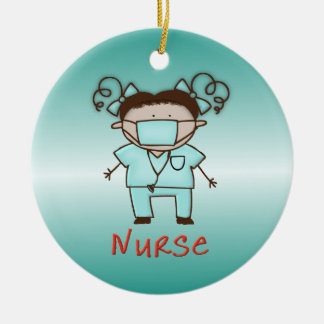 Occupation Nurse Custom Personalized Date and Name Round Ceramic Ornament