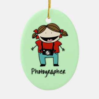 Occupation Photographer Female Personalized Custom Ceramic Oval Ornament
