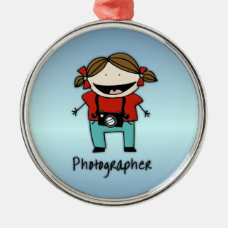 Occupation Photographer Female Silver-Colored Round Ornament