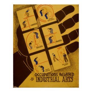 Occupations Related To Industrial Arts Vintage WPA Poster