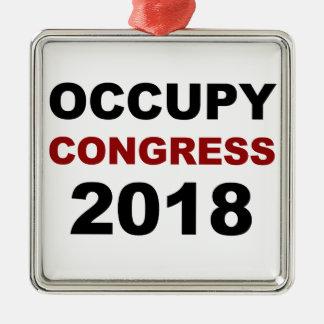 Occupy Congress 2018 Silver-Colored Square Ornament
