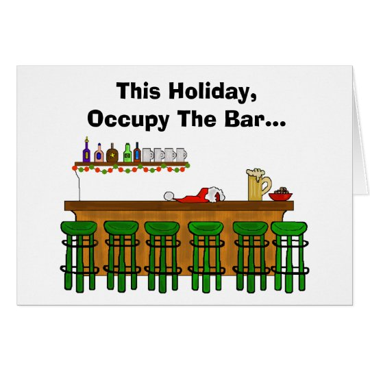 Occupy The Bar Funny Christmas Card - Version 2