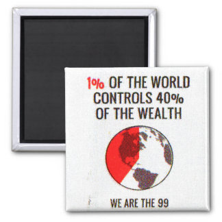 Occupy Wall Street - 1% World Controls 40% Wealth Square Magnet