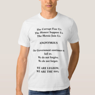 Occupy Wall Street, We Are The 99%, Anonymous T Shirts