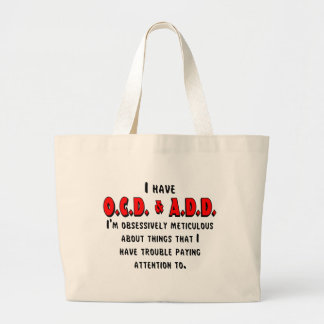 OCD-ADD Black/Red Large Tote Bag