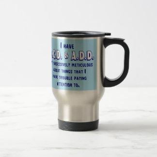 OCD & ADD Blue & White Travel Mug