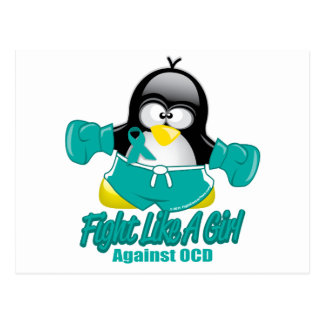 OCD Fighting Penguin Postcard