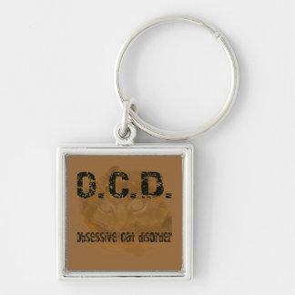 OCD - Obessive Cat Silver-Colored Square Keychain