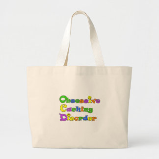 OCD OBSESSIVE CACHING DISORDER -  GEOCACHING LARGE TOTE BAG