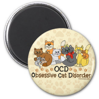 OCD Obsessive Cat Disorder 2 Inch Round Magnet