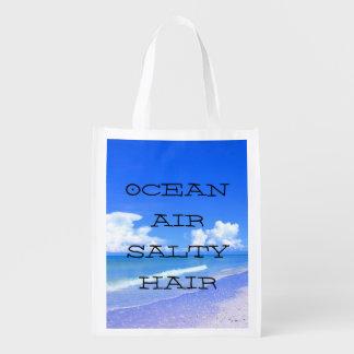Ocean Air Salty Hair Reusable Grocery Bags
