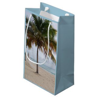 Ocean and Beach with Palm Tree Small Gift Bag