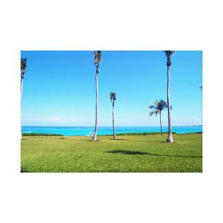 Ocean and Palm Landscape Canvas Print