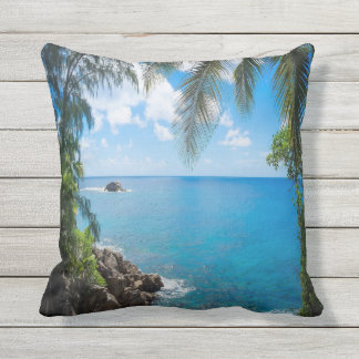 Ocean and Palm Tree Scene Outdoor Throw Pillow