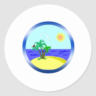 Ocean and sunlight classic round sticker