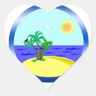 Ocean and sunlight heart sticker