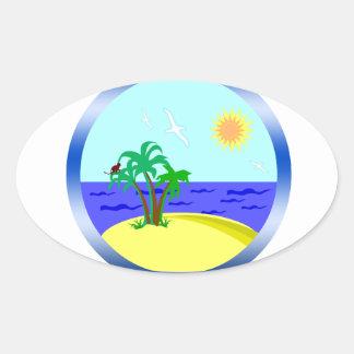 Ocean and sunlight oval sticker