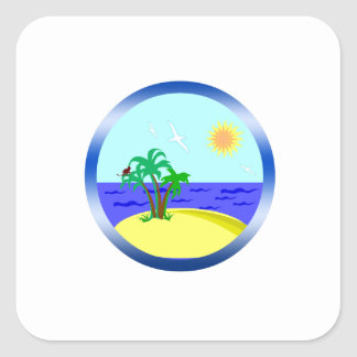 Ocean and sunlight square sticker