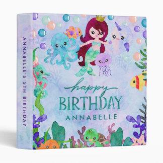 Ocean Animals Mermaid Theme Birthday Scrapbook 3 Ring Binders