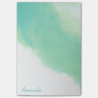 Ocean Aqua Blue Abstract Watercolor with Monogram Post-it® Notes