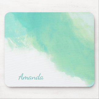Ocean Aqua Blue Abstract with Monogram Mouse Pad