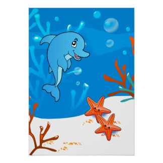 Ocean Aquatic  Cute Dolphin Starfish Poster