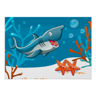 Ocean Aquatic Cute Shark Starfish Poster