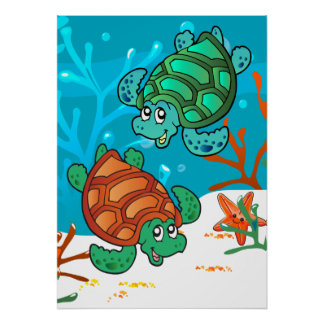 Ocean Aquatic Cute Turtle Starfish Kids Room P Poster