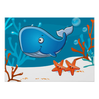 Ocean Aquatic Cute Whale Starfish Poster