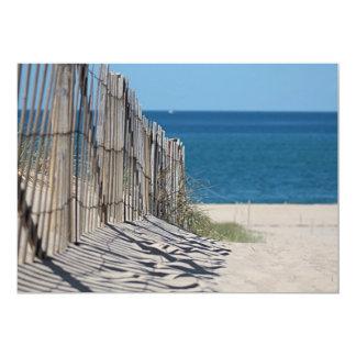 Ocean beach and beach fence card