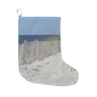 Ocean beach and beach fence large christmas stocking
