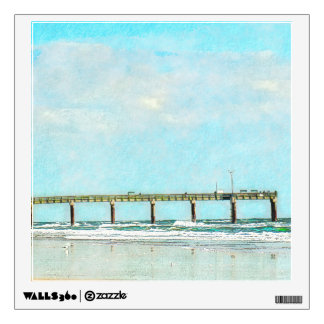 Ocean Beach and Fishing Pier Watercolor Wall Sticker